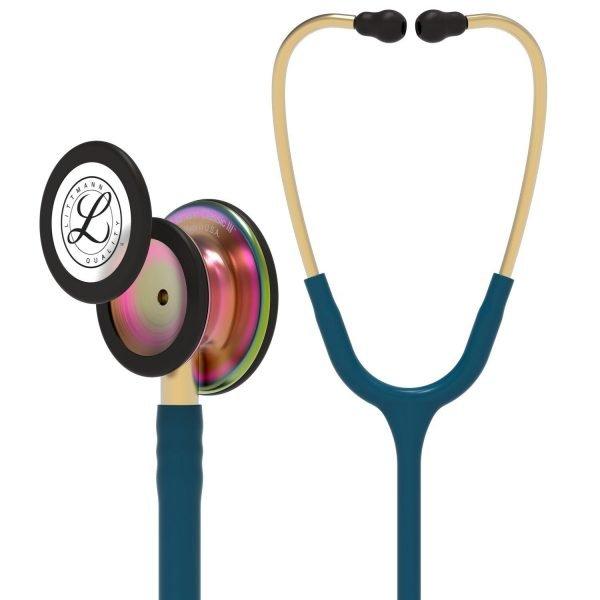 3M Littmann Classic III Stethoscope Caribbean Blue with Rainbow Chest Piece 5807