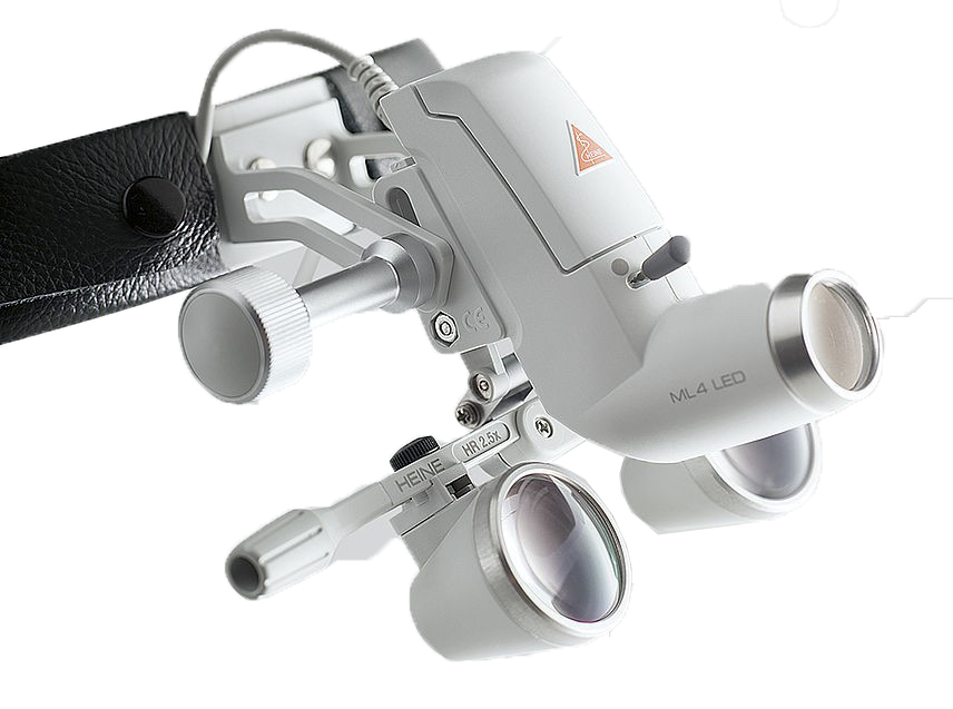 Heine ML4 LED Headlight with Binocular loupe, m-pack and without S-GAURD