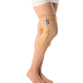 Elastic knee cap with hinges