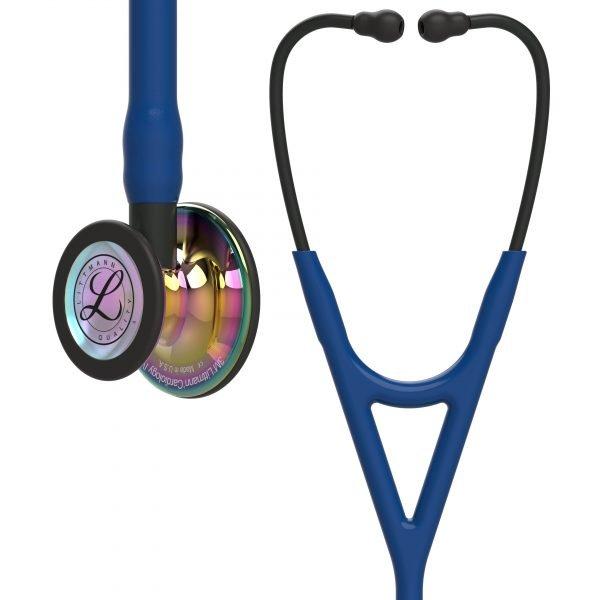 3M Littmann Cardiology IV Stethoscope - Navy, Rainbow-Finish, Black Stem 6242