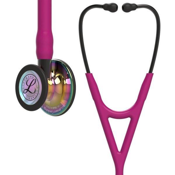 3M Littmann Cardiology IV Stethoscope – Raspberry, Rainbow-Finish, Smoke Stem 6241